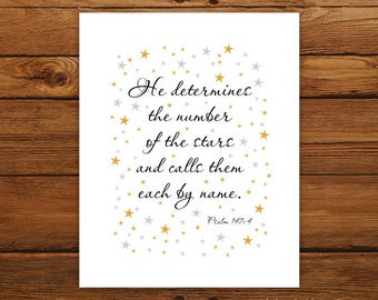 Bible Verse Print Psalm 147:4 - Gold and Silver Stars Scripture
