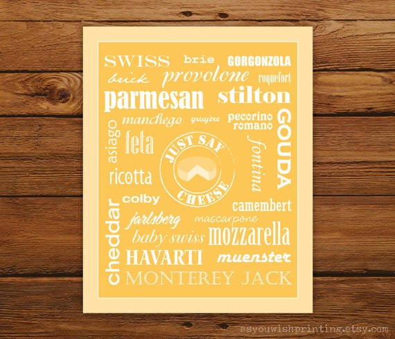 """Kitchen Art Just Say Cheese 8x10"""" Poster - Cheddar Typography"""