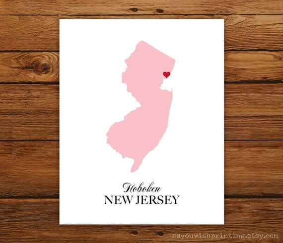 New Jersey State Love Map Silhouette 8x10 Print - Customized