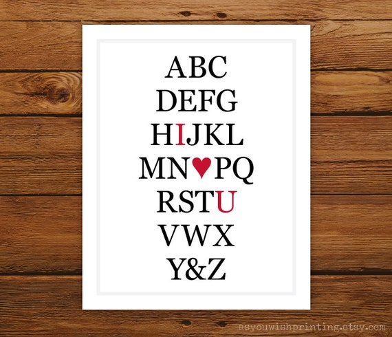 I Heart U Alphabet Art Print - White
