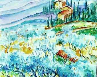 "Watecolor ""Olive Groves of Cozille  Tuscany "" Original painting -Italian Landscape,plein air, cypress trees"
