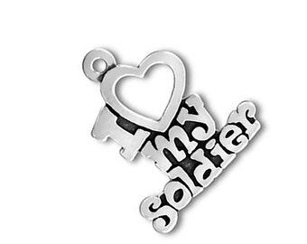 I Love My Soldier Charm Pendant Sterling Silver 925 Words Heart