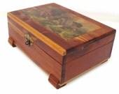 Vintage Wood Box / Wooden Decoupage Box with Lid / Cedar Chest / Folk Art Jewelry Storage