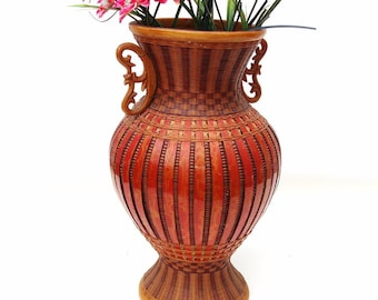 Vintage Wicker Vase Bamboo Basket Rattan Urn Flower Container Ceramic Insert Red Brown