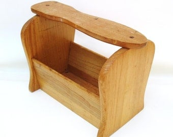 Vintage Shoe Shine Box / Wood Caddy / Small Foot Stool - Wooden Shoe Box Grooming Accessory