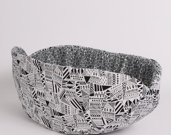 Cat Canoe Pet Bed in Black and White Abstract Fabric