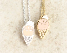 N002 Ice Cream Cone necklace / choose your color, gold and silver