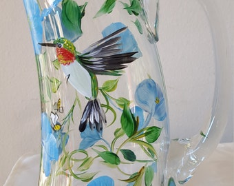 Handpainted hummingbird and morning glory pitcher