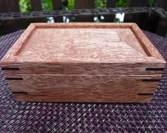 Handcrafted Honduran Mahogany Jewelry/ Keepsake Box with Beveled Lid and Wenge Keys