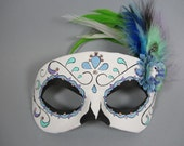 Deluxe Blue, Green, and Purple Swirl Leather Day of the Dead Masquerade Mask, OOAK