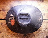 Vintage Metal Military Hat Box with Travel Stickers - Great Guy Gift!
