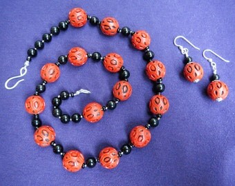 Red & Black Carved Cinnabar with Black Onyx Necklace Earrings Set