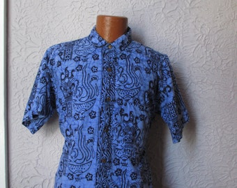 70's Vintage Men's  Bali Batik Demons and Stars hand dyed med/lg
