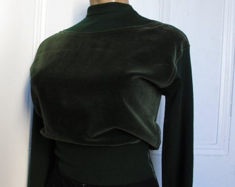 30's Vintage Green Velvet Knit Top Sweater sm/med