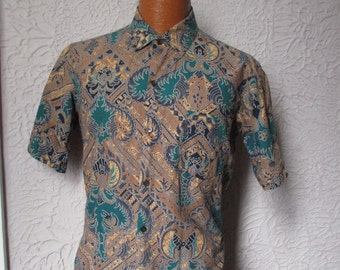 70's Vintage Men's  Bali Batik Tiki Shirt medium