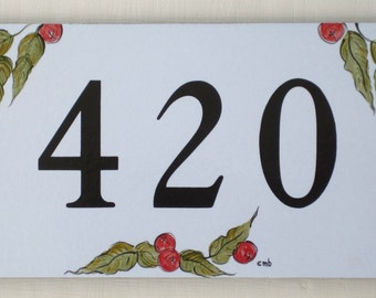 House Numbers with BERRIES Address Plaque Outdoor House Numbers Tile Address Sign
