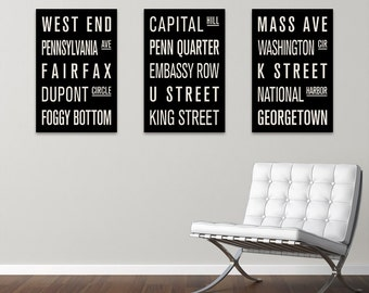 Washington D.C. COLLECTION of 3 Subway Sign Prints. Bus Scrolls.