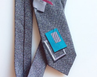 1980s GEOMETRIC New Wave Gray Skinny Tie