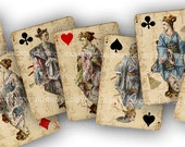 Asian Playing Cards Oriental Japanese Digital Paper Printable Download Decoupage Antique Clipart Playing Card Deck Games Royals ATC ACEO 723