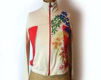 Vintage Miss Sixty embroidered bomber jacket, Italian designer bomber jacket, cream and red zip jacket sz S