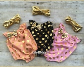 Gold bubble birthday suit, metalic bow knot band,pink and gold romper, pink and gold polka dots pink outfit , peach and gold, black and gold