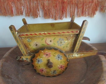 Folk Art Ox Cart, Bohemian Decor, Planter, Ethnic Cart Ornament Holder