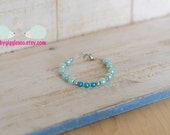 Aqua Blue Baby blue Glass Imitation Faux Pearl Beads Bracelet