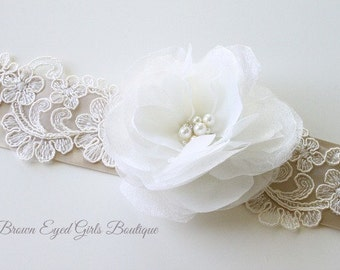 Ivory Organza and Lace Bridal Sash
