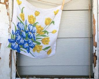 Yellow Tulip Vintage Hanky • Vintage Hankies • Vintage Hanky • Ladies Handkerchief