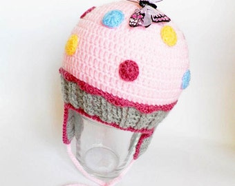 Crochet baby hat, baby hat, earflaps, pink baby hat, winter baby hat, winter baby accessories