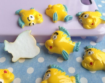 7pcs lovely yellow fish resin cabochon 25mm flatback for diy cell phone accessories