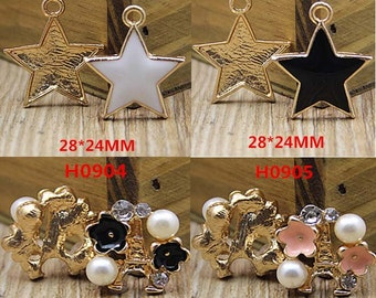 2pcs diy stars and pearl rhinestones tower flower cabochon mix styles
