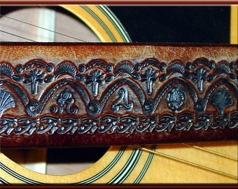 INDIA TEMPLE #2 Design • A Beautifully Hand Tooled, Hand Crafted Leather Guitar Strap