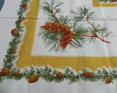 "53""x53"" inch square pinecone tablecloth"