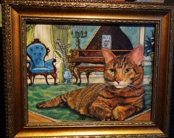 Custom Glamour Cat Portrait:  Your cat in an 8x10 framed fantasy background