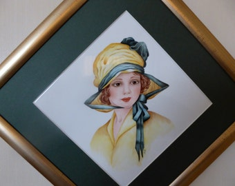 hand painted plaque, bone china plaque, hand painted lady, ceramic lady, framed plaque