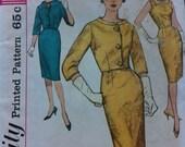 Vintage 1960s Simplicity Pattern 4173 Dress One Piece Dress and Jacket Slim Dress V back Sleeveless Dress Size 12 Bust 32 Vintage Classic
