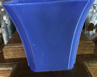 ALAMO Pottery San Antonio Tx Art Deco Style Blue Vase Art Deco Look Vintage 7 inches tall 7 inches across top ALAMO Vitreous Chinantage
