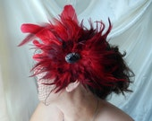 Feathered Red Fascinator - Red & Black Fascinator - Red Feathered Hairpiece - Wedding Fascinator - Bridal Hairpiece