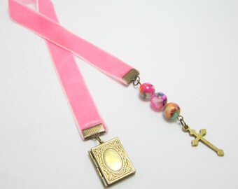 Christian Ribbon Bookmark Confirmation Baptism Gift Pink Velvet Ribbon Bronze Cross and Locket Charms