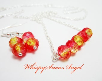 Necklace and Earring Set Rondelle Necklace Fire Red and Yellow Rondelles Gift Set for Her Silver Plate Chain 24 Inch