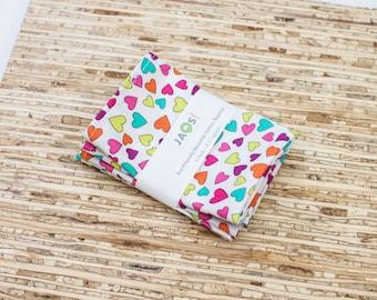 Small Cloth Napkins - Set of 4 - (N4160s) - Colorful Hearts Modern Reusable Fabric Napkins