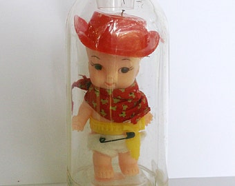 Vintage Doll Bottle Baby Doll Cowboy Remco 1960s