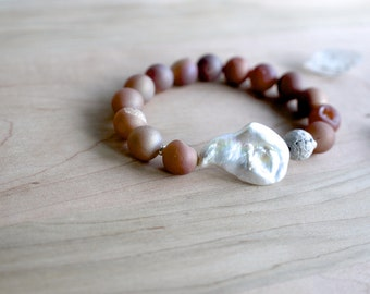 natural pearl druzy agate bracelet with sterling silver. warm pink brown tones. rough agate focal bead.