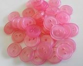 "22 Pink Translucent Round Buttons Size 7/16"" Sewing Crafting"