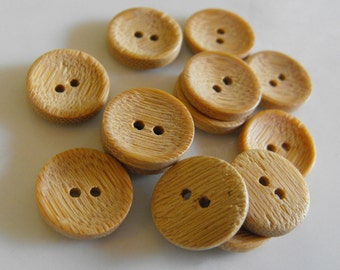 """15 Light Wood Cupped Small Round Buttons Size 9/16"""""""