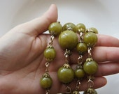 Destash - Vintage French Galalith or French Bakelite Necklace - Green