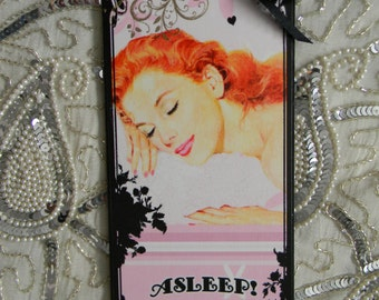 Asleep Awake Dorm Room Bedroom Door Decoupage Decorative Plaque Hanger Sign Wall