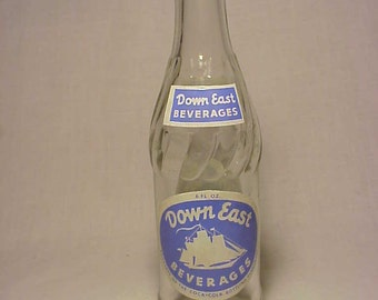 c1960s Down East Beverages Coca Cola, Clear ACL Painted Label Crown Top Soda Bottle