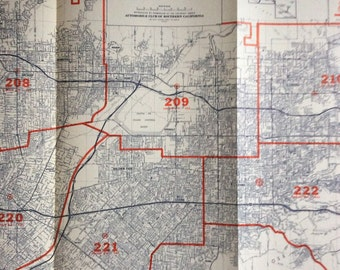 Industrial Decor Map 1980's  San Gabriel Valley Alhambra Pasadena Covina more Los Angeles huge California vintage